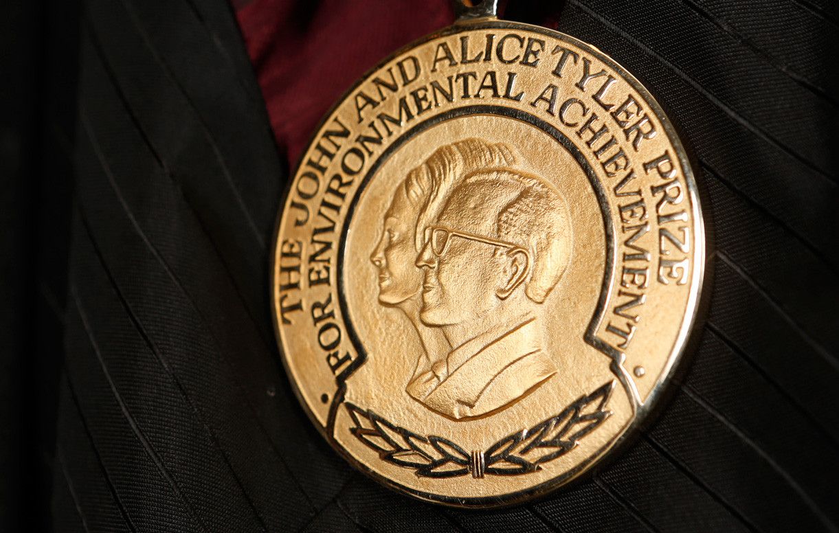 A photo of the Tyler Prize medal.