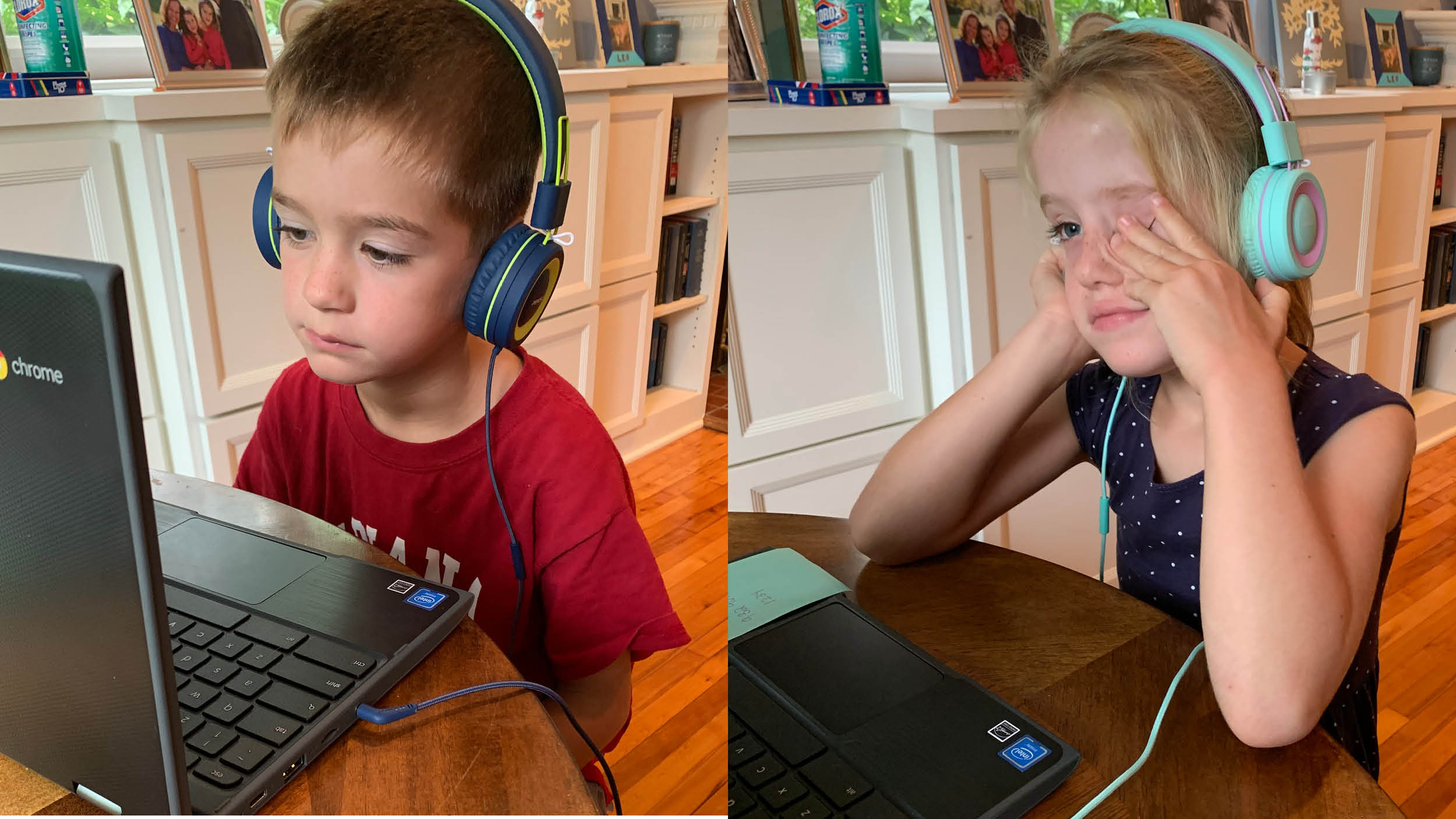 Two children attending Zoom sessions on laptops. They have headphones on and are staring at a screen